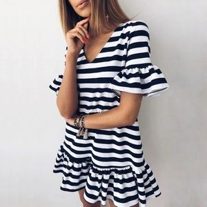 5❤️Fave! Black and white striped ruffle dress